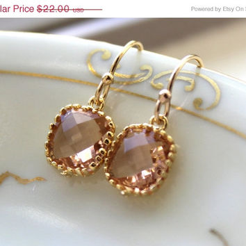 10% OFF SALE Dainty Champagne Blush Earrings Gold Plated - Peach Bridesmaid Earrings - Wedding Earrings - Champagne Wedding Jewelry - Brida