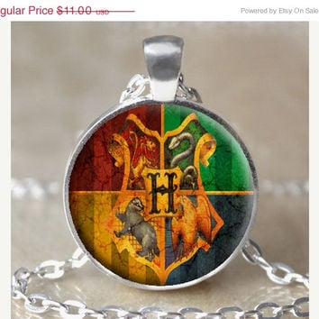ON SALE Hogwarts Coat of Arms Necklace / Keychain