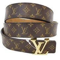Lv Brown Monogram Lv Buckle Belt
