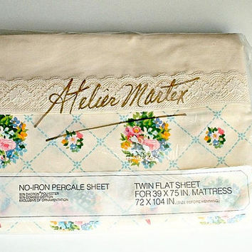 Atelier Martex Sheet Twin Flat Sheet Victorian Bouquets Gloria Vanderbuilt  in Original Package Vintage New Old Stock NIP