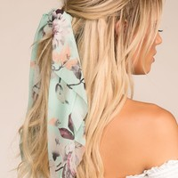 In Paris Mint Floral Scarf Ponytail Hair Tie