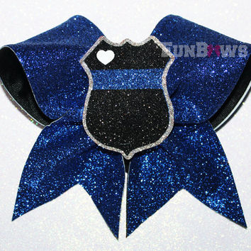 Law Enforcement Police Support Glitter Cheer Bow by FunBows !! Personalize it !
