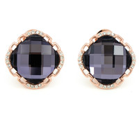 Dark Purple and Rose Gold Stud Earrings