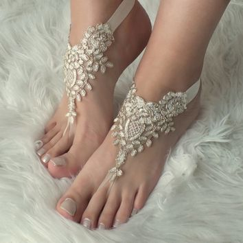 ivory gold Beach wedding barefoot sandals wedding shoes prom lace barefoot sandals bangle beach anklets bride bridesmaid gift lace barefoot