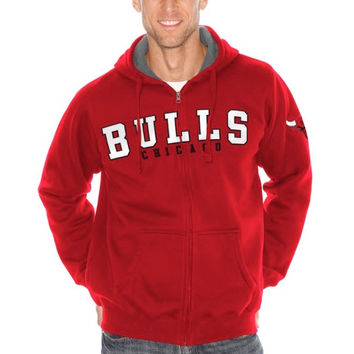 Chicago Bulls Big & Tall Sherpa Hooded Jacket - Red