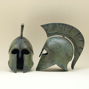 Greek Bronze Helmet, Greek Key Crest Helmet, Ancient Greek Corinthian War Helmet, Bronze Metal Sculpture, Museum Replica, Art Decor