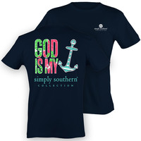 Simply Southern God Is My Anchor Faith Girlie Bright T Shirt