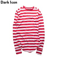 Striped Hip Hop T-shirt Men Long Sleeve Wrist Hole Spring Basic Extended Urban T shirt Men Curved Hem K pop Men's Tee Shirt