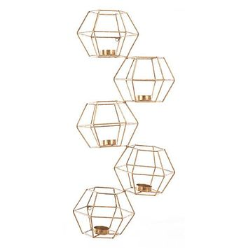 A10609 Set Of 5 Wall Candle Holder Gold