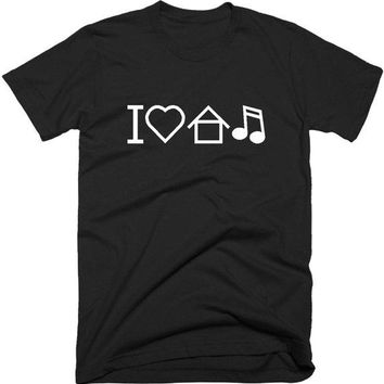 "Ladies ""I Love House Music"" Cryptic  Print Casual Cotton Tee"