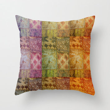 Bohemian Pillow Case, Bollywood Cushion, Ethnic Home Decor, Colorful, Sari Fabric, India, Travel, Gypsy Home Decor, Boho, Earth Colours