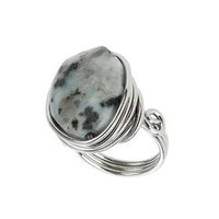 Semi Precious Twisted Ring - Black