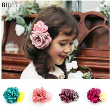 LMF78W 5pcs/lot Girl Hair Clips Vintage Burned Rose Flower WITH Clips Women Hair Dress Accesscories 10 Color for U Pick FC115
