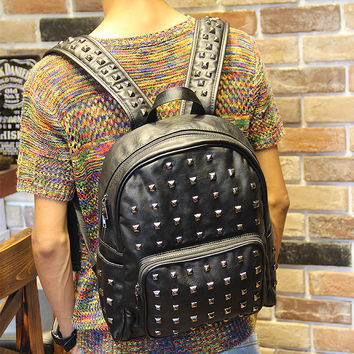 Men's Black Studded Rucksack Laptop Bag Leather Backpack Travel