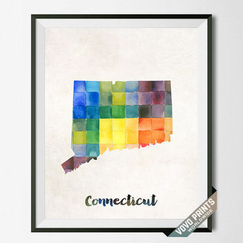 Connecticut, State, Print, Southernmost, New England, Artwork, Map, Wall Art, Poster, Painting, Kitchen, Bedroom, USA, United States [NO 8]