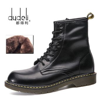 DUDELI 2018 dr martins men boots winter military black boots men shoes leather Mid-Calf Lace-Up Round Toe high quality size 47