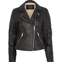 River Island Womens Black leather biker jacket