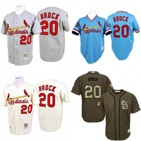 Blue grey cream Throwback Lou Brock Authentic Jersey , Men's #20 Mitchell And Ness St. Louis Cardinals