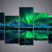 Northern Lights Aurora Borealis 5-Piece Wall Art Canvas