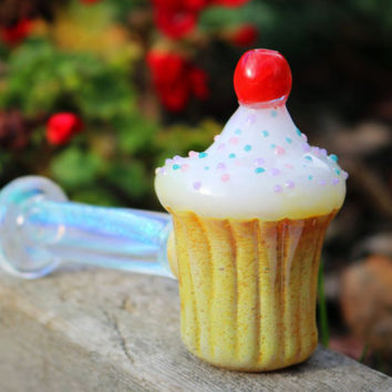 Glass cupcake pipe with cherry on top