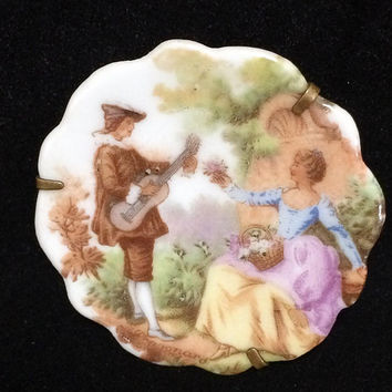 Limoges France Fragonard Baroque Pin Romantic Couple Rococo Brooch Porcelain Plate Trombone Clasp Mid Century Jewelry 418