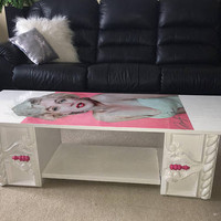 SOLD Pink & white Marilyn Monroe coffee table