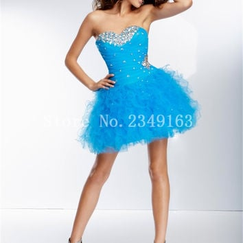 Fancy Mini Short Prom Gown Short Pretty Homecoming Dress Tiered Organza Cheap Crystal Ball Gown Sweetheart Cocktail Dress
