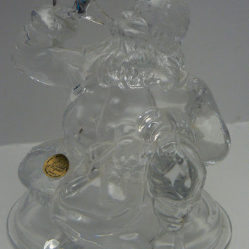 Cristal d ' Arques Coca Cola Santa 24 Lead Crystal Glass Figurine Statue of Santa Drinking a Coke Pop with his bag of Gifts d'Arques France