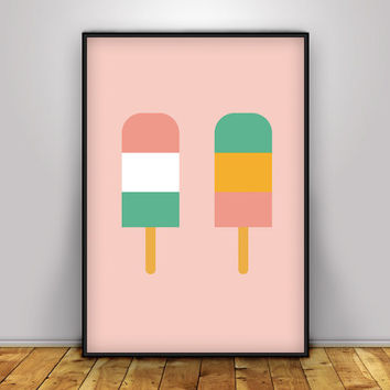 Ice Cream Print, Ice Lollies Print, Ice Cream Poster, Summer Print,  Nursery Decor, Printable art, Nursery Wall Art, Ice Lolly, Seaside art