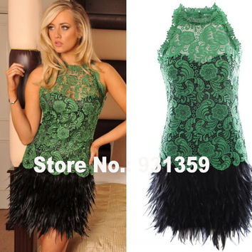 Green Lace Halter Neck Back Hole Mini Custom Made Party Dress Vestido De Festa Design CD9252 Short Party Dresses With Feathers
