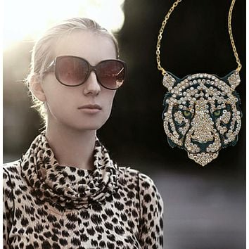 Solid 925 Sterling Silver White Zirconia Tiger Necklaces