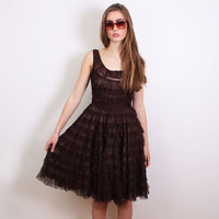 1960s (60s) Vintage Ruffle Netting Prom Dress