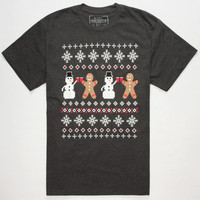 Riot Society Ugly Xmas Sweater Mens T-Shirt Heather Black  In Sizes