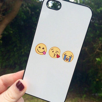 Iphone 4 4S Phone Case Emoji Icons Faces Print Hipster Phone Cover
