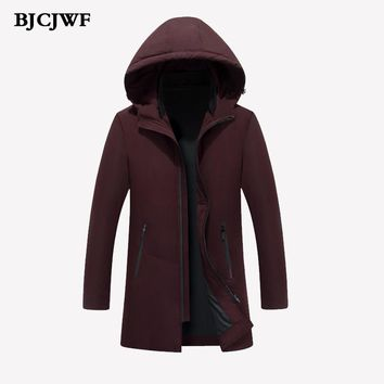 Thick keep warm men White duck down Coat hooded down Parka winter coat Male Slim