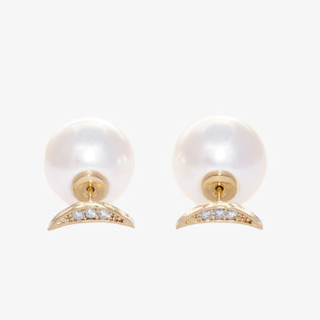 Moon and Pearl Stud Through and Through Earrings