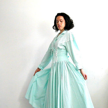 1980s Corset Dress / 80s dress / country wedding / full skirt dress / western dress / Foxy Lady / light blue / Medium