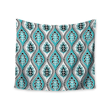 "Jacqueline Milton ""Oak Leaf - Turquoise"" Floral Blue Wall Tapestry"