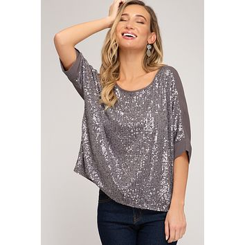 3/4 Batwing Sleeve Sequin Top - Grey