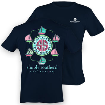 Simply Southern Preppy Sail Boats Anchor Sea Chevron Girlie Bright T Shirt