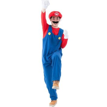 MOONIGHT Halloween Costumes Men Women Super Mario Luigi Brothers Plumber Costume Jumpsuit Fancy Cosplay Clothing for Adult