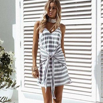 LMFMS9 Navy Summer Women's Fashion Spaghetti Strap Dress Sexy V-neck Stripes Waistband One Piece Dress [13536493594]