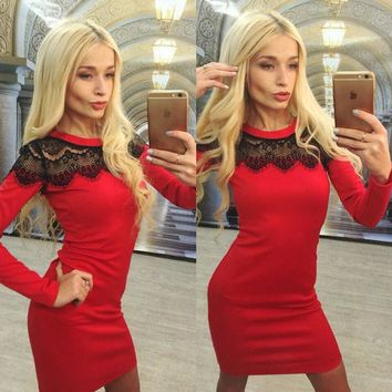 2018 women fashion full sleeve red sheath dress lace o neck women dresses autumn solid dress plus size