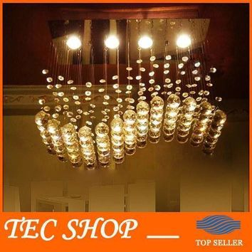 JH High Quality Wave-shaped K9 Crystal Chandeliers LED Hanging Wire Lights Restaurant Shop Bar Rectangular Crystal Ceiling Lamp