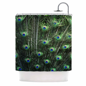 "Robin Dickinson ""Glory"" Peacock Green Shower Curtain"