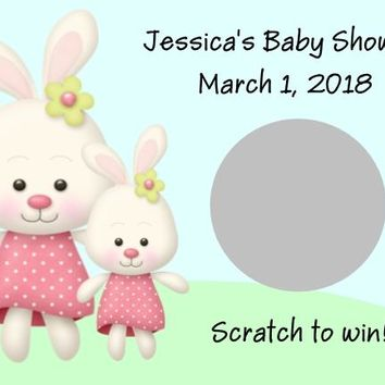 10 Bunny Baby Shower Scratch Off Cards