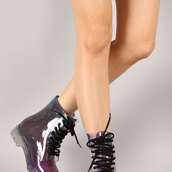 Luann Jelly Galaxy Print Lace Up Rain Boot
