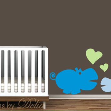 Hippo Wall Art, Mommy or Daddy Hippo with Baby Hippo Decal