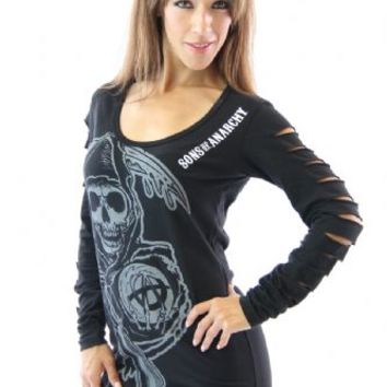 Sons of Anarchy Reaper Long Sleeve Laser Cut Juniors Black T-shirt