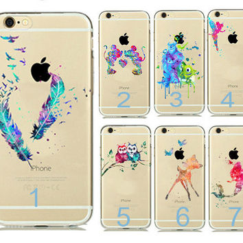 Fashion Cartoon Animals Watercolor Art Transparent Soft TPU Case Cover For Capinhas iphone 7 7plus 5s 5 6 6s